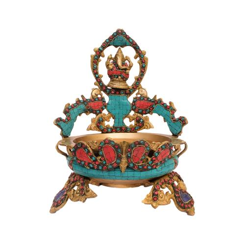BRASS GANESHA URLI WITH STONE WORK