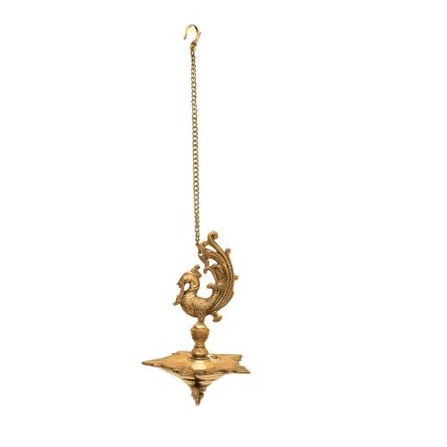 BRASS PEACOCK DIYA WITH WALL HANGING