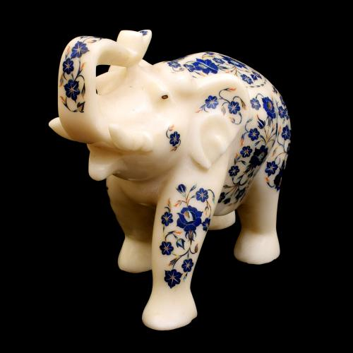 MARBLE STATUE ELEPHANT WITH INLAY STONE WORK