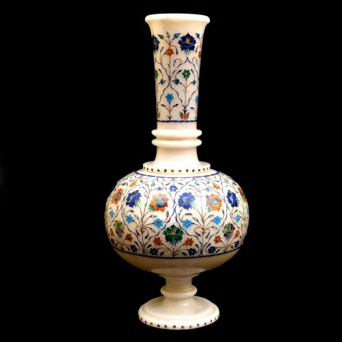 MARBLE FLOWER VASE WITH INLAY STONE WORK