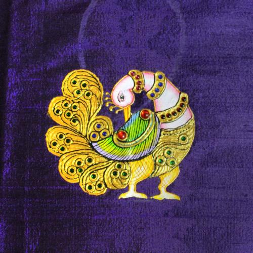 ANNAPAKSHI WITH FLOWER TANJORE PAINTING WORK IN BLOUSW