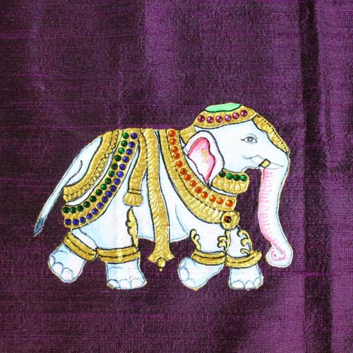 ELEPHANT TANJORE PAINTING WORK IN BLOUSE