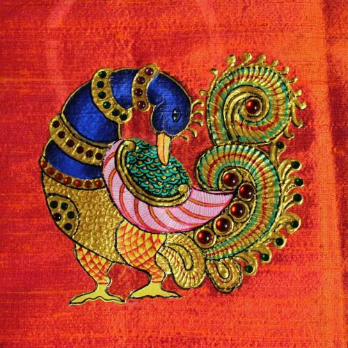 ANNAPAKSHI WITH FLOWER TANJORE PAINTING WORK IN BLOUSE