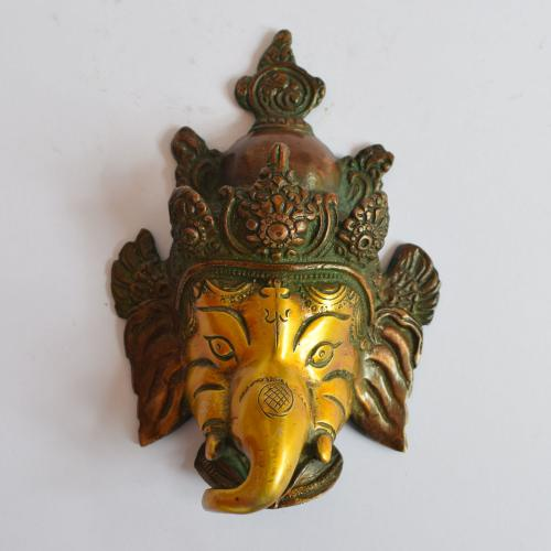 BRASS GANESHA FACE MASK WALL HANGING WITH COPPER FINISH