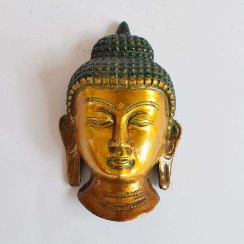 BRASS BUDDHA FACE MASK WALL HANGING WITH COPPER FINISH