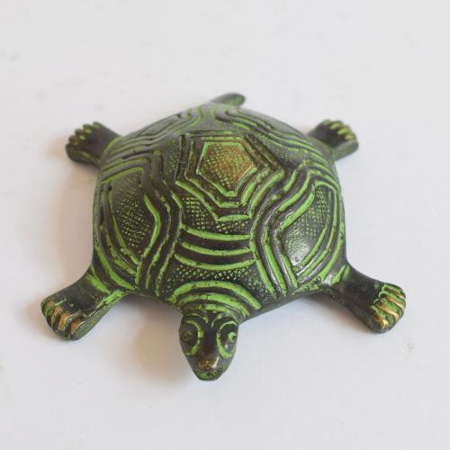 BRASS TORTOISE WITH ENAMEL PAINTED