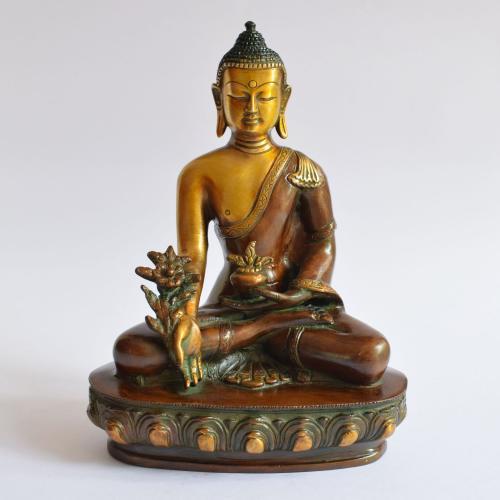 BRASS BUDDHA IDOL WITH ENAMEL PAINTED