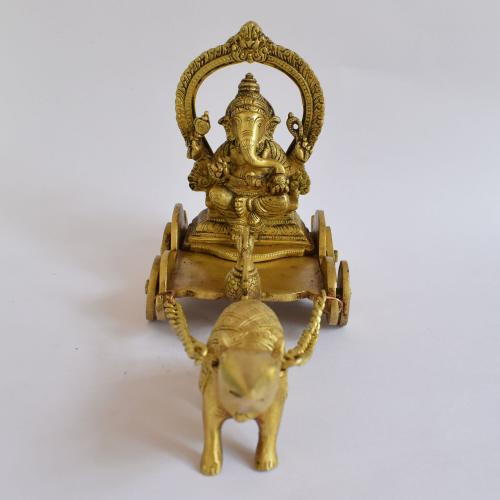 BRASS GANESHA RATH  WITH MOUSE