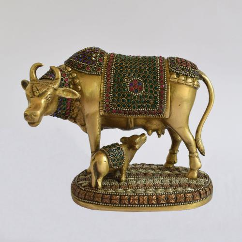 BRASS COW AND CALF WITH STONE WORK