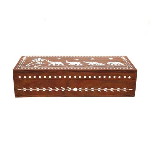 WOODEN BOX WITH ELEPHANT INLAY WORK