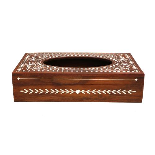 WOODEN TISSUE BOX WITH INLAY WORK