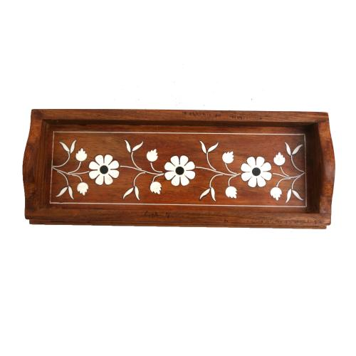 WOODEN PENCIL TRAY WITH INLAY WORK
