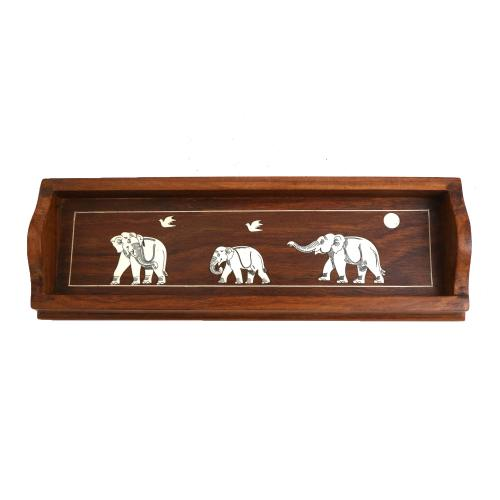 WOODEN PENCIL TRAY WITH ELEPHANT INLAY WORK