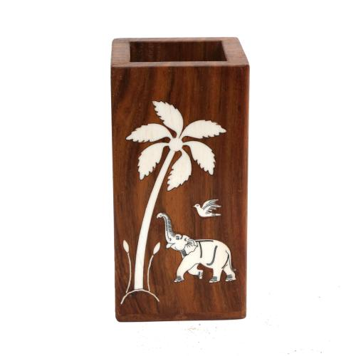 WOODEN PEN STAND WITH INLAY WORK
