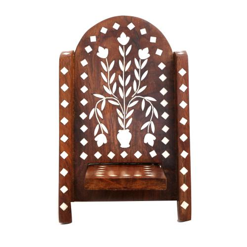 WOODEN MOBILE STAND WITH INLAY WORK