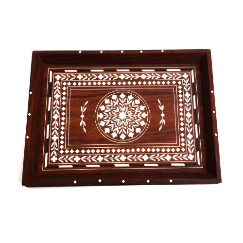 WOODEN TRAY WITH INLAY WORK