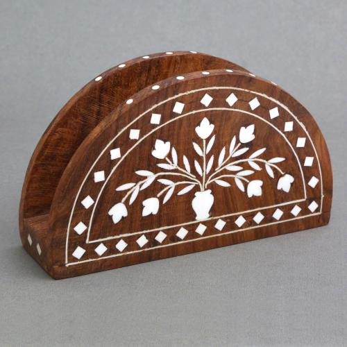 WOODEN TISSUE PAPER STAND WITH INLAY WORK