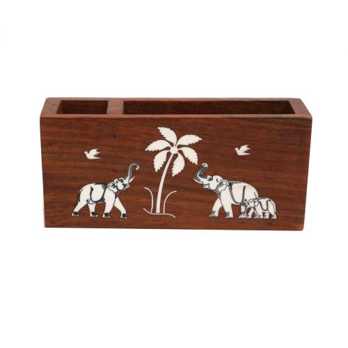 WOODEN PEN STAND WITH ELEPHANT INLAY WORK
