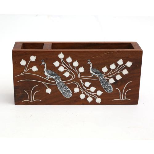 WOODEN PEN STAND WITH PEACOCK INLAY WORK