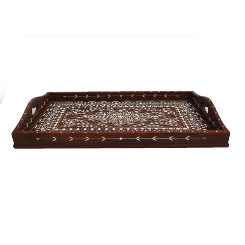 WOODEN TEA TRAY WITH INLAY WORK