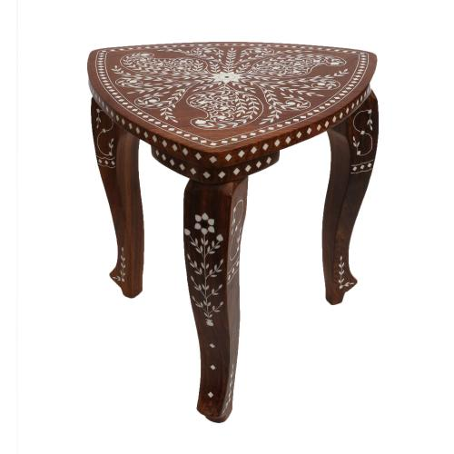 WOODEN TRIANGULAR TABLE WITH INLAY WORK