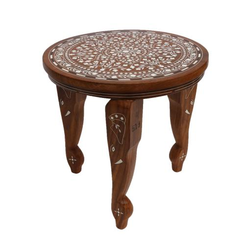 WOODEN ROUND TABLE WITH INLAY WORK