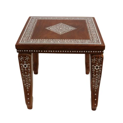WOODEN SQUARE TABLE WITH INLAY WORK