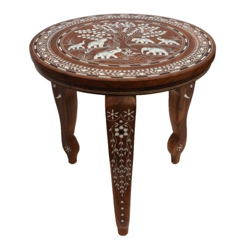 WOODEN ROUND TABLE WITH ELEPHANT INLAY WORK