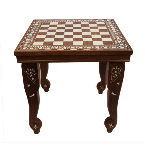 WOODEN CHESS TABLE WITH INLAY WORK