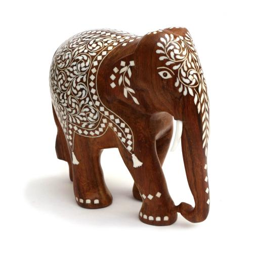 WOODEN ELEPHANT WITH INLAY WORK