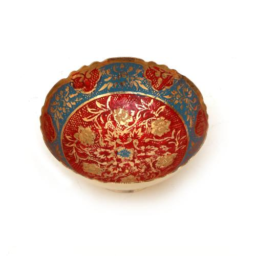 BRASS BOWL WITH ENAMEL PAINTED