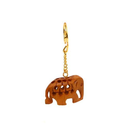 WOODEN JALI ELEPHANT KEY CHAIN