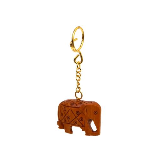 WOODEN CARVING ELEPHANT KEY CHAIN