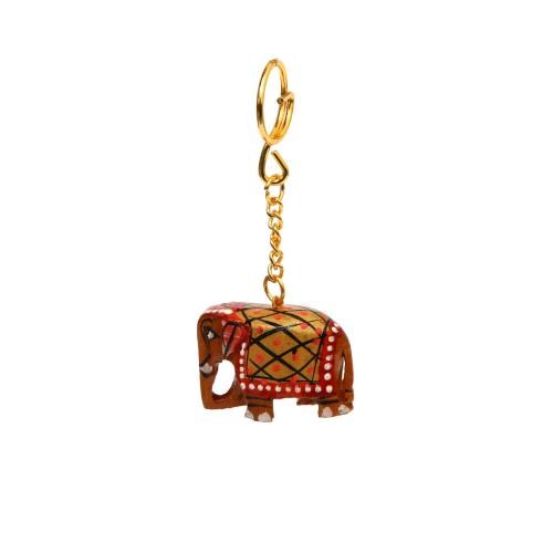 WOODEN PAINTED ELEPHANT KEY CHAIN