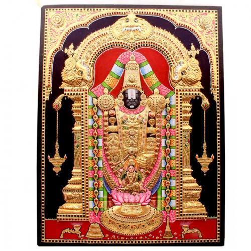 22ct Gold Handmade Lord Balaji With Lakshmi Tanjore Painting