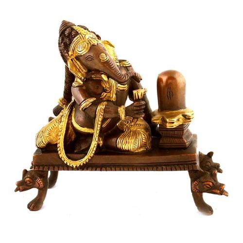 GANESHA SITTING WITH SHIVLINGA