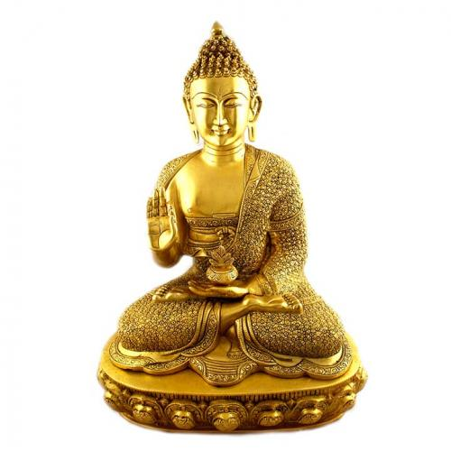 BUDDHA SITING WITH FLOWR CARVING