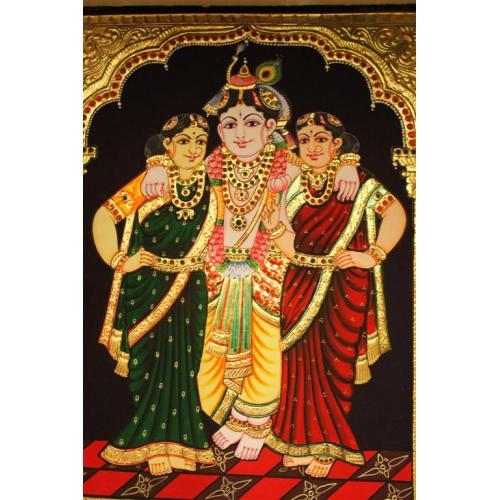 22ct Gold Handmade Lord Krishna Bama Rukmani Tanjore Painting