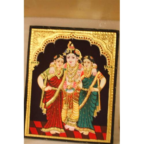 Gold Plated Handmade Lord krishna Bama Rukmani Tanjore painting