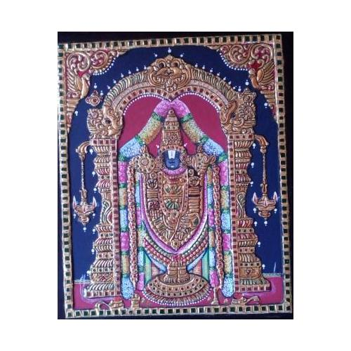 22ct Gold Lord Balaji Venkatachalapathy Tanjore Painting