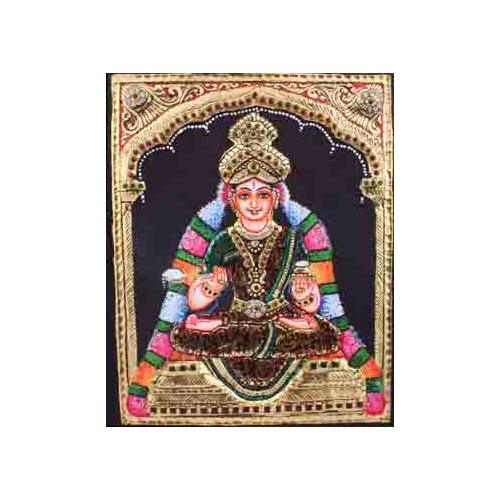 22ct Gold Handmade Goddess Annapoorneshwari Tanjore Painting