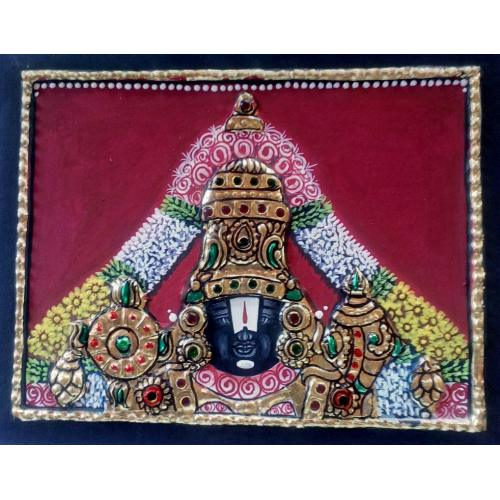 22ct Gold Lord Balaji Venkachalapathy Face Tanjore Painting