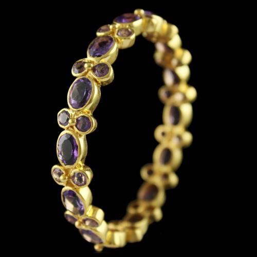 Silver Gold Plated Floral Design Bangles Semi precious Stones
