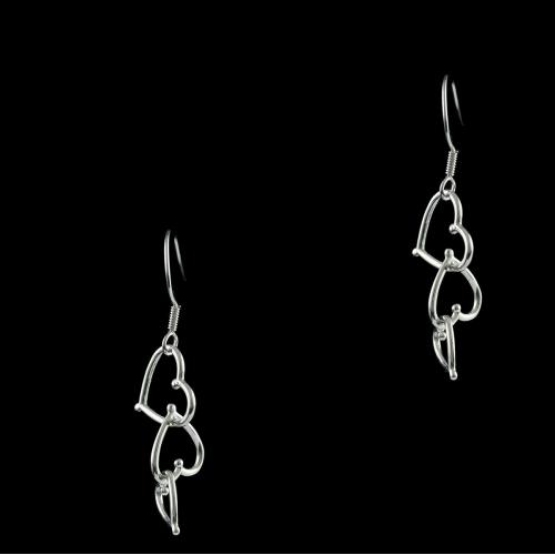E5640 Sterling Silver Heart Shape Earrings