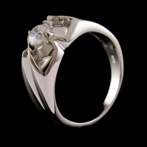 R6714 Sterling Silver Ring Studded Zircon Stones
