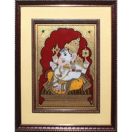 RIGHT SIDE FACE GANESHA GLASS PAINTING