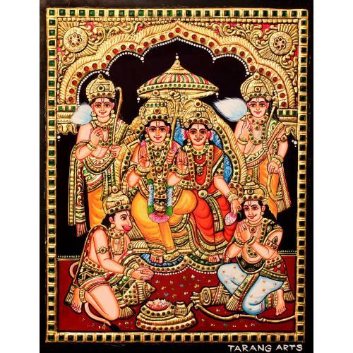 22ct Gold Handmade Lord Rama Pattabishekam Tanjore Painting