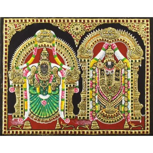 22ct Gold Handmade Lord Balaji With Padmavathy Tanjore Painting