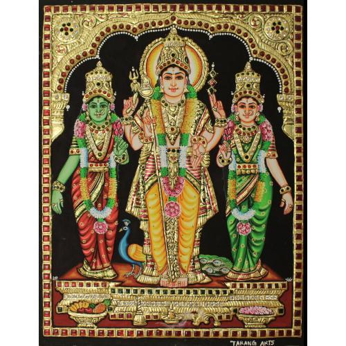 22ct Gold Lord Murugan With Valli Deivanai Tanjore Painting