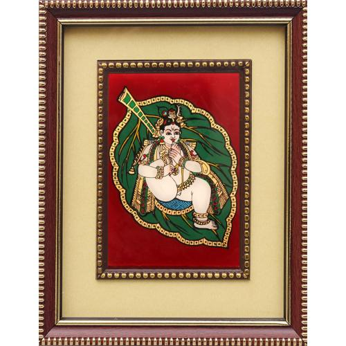 GLASS PAINTING LEAF KRISHNA